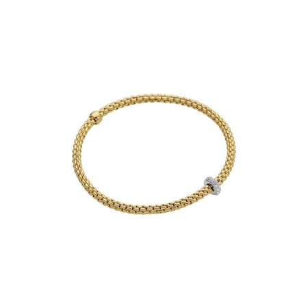 Fope FOPE Flex-it Prima  armband 18k geelgoud met 0.18ct pavé briljant- 745 B BBR M G