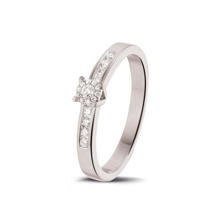 HuisCollectie HuisCollectie Ring 14k Witgoud met 0.18ct H Si diamant 605420