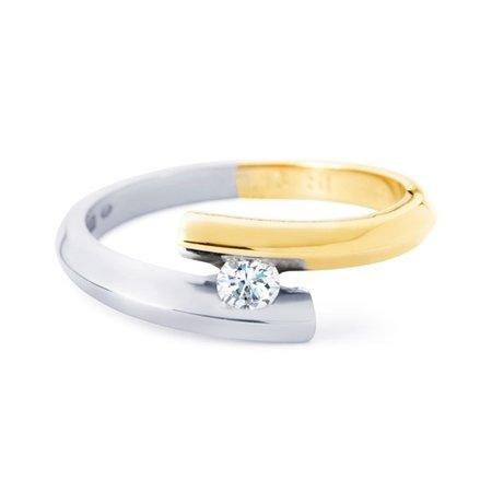 R&C R&C Ring Penelope 14k geel/witgoud met 0.08ct SI/R diamant RIN003M/GG/WG1-55