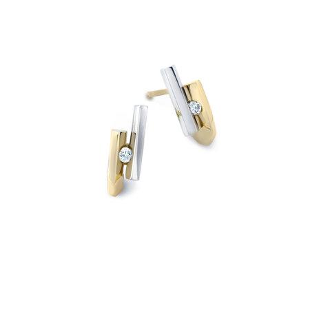 R&C R&C Oorstekers Penelope 14k geel/witgoud met 0.06ct SI/R diamant OOR0003/GG/WG