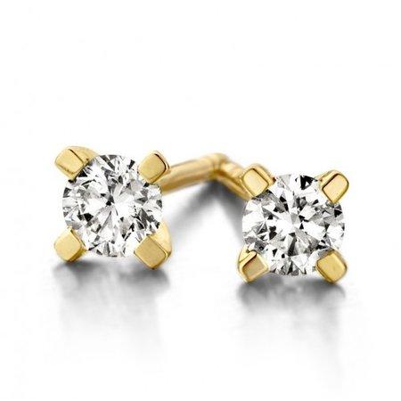 Mrs.Janssen HuisCollectie Oorstekers 14k geelgoud solitair met diamant 0.70ct H/Si 607807