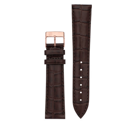 Frederique Constant Frederique Constant horlogeband 19-16 MM bruin croco imitatie zonder gesp FCS-DBR19X16