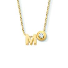 Minitials Minitials Eén Signature Eén Diamond Collier 18k Geelgoud letter M 604932