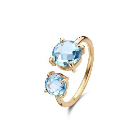 Jarrèl JARRÈL Ring Bangle Rimini Geelgoud met Blauwe Topaas 4Y.7169.TOS