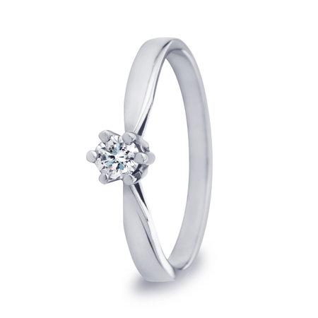 R&C R&C Ring Aumone 14k witgoud met 0.15ct R/Si diamant RIN0029G-0.15SIR