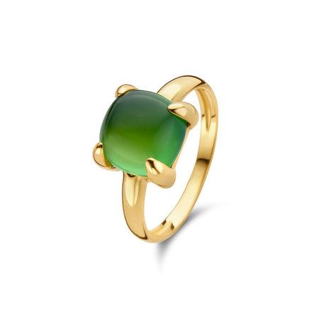 Jarrèl JARRÈL Ring Lucca 14K geelgoud met doublet jade en goudkwarts 4Y.7309.JG2.GQC