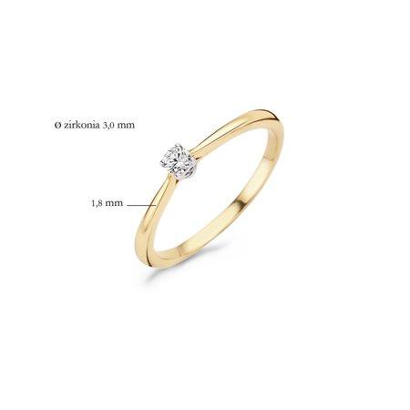 Blush Blush ring 14k geelgoud met witgoud chaton met  zirkonia 3mm 1186BZI-52
