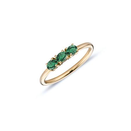 MissSpring Miss Spring Ring MSR702-GG-GT-54 14k Geelgoud met 3x toermalijn groen