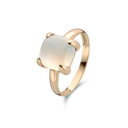 Jarrèl JARRÈL Ring Lucca 14K geelgoud met witte maansteen 4Y.7309.MWC