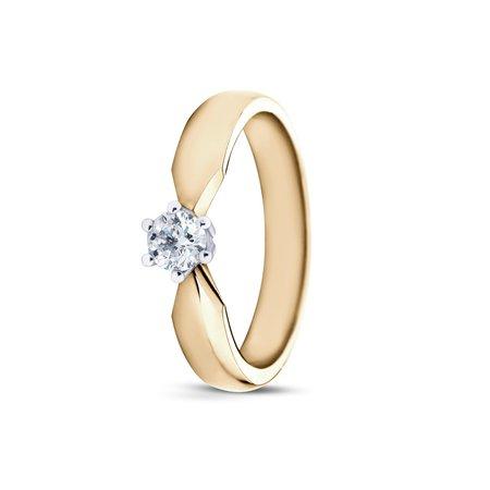 R&C R&C Ring Elise 14k geelgoud met 0.30ct R/Si diamant RIN0083L-0.30-SR-GW