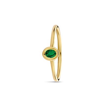 MissSpring Miss Spring Ring Brilliantly Bezel MSR612 SM geelgoud met smaragd