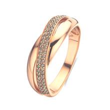 Mrs.Janssen MRS.Janssen Ring 18k roségoud met bruine diamant 0.23ct 603308