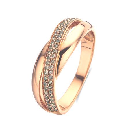 Mrs.Janssen MRS.Janssen damesring 18k roségoud met bruine diamant 51-0.23ct maat 56-603308
