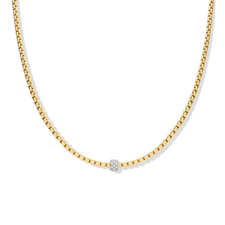 Fope FOPE Collier Eka Tiny 0.19ct 18k Geelgoud 730C Pave G 45cm
