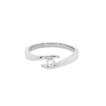 Mrs.Janssen MRS.Janssen Ring 14k witgoud slagring met diamant 0.12crt G/Si 605336