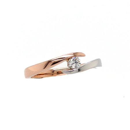 Mrs.Janssen MRS.Janssen Ring 14k bicolour witgouden met rosegouden slagring met diamant 0.25crt G/Si 605232