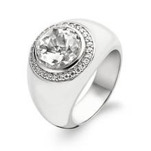 Ti Sento Ti Sento Ring Zilver gerhodineerd met wit keramiek en zirkonia  1844EW