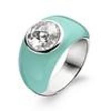 Ti Sento Ti Sento Ring Zilver gerhodineerd met turquoise en zirkonia  1843ET maat 56