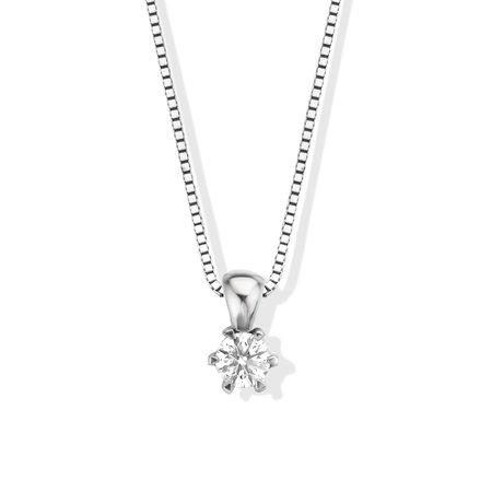 Mrs.Janssen MRS. Janssen Solitair Hanger 18k Witgoud met 0.21ct TW/Si Diamant 608186