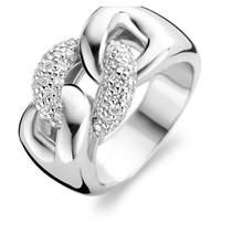 Ti Sento Ti Sento Ring Zilver gerhodineerd gevlochten met zirkonia's 1587ZI