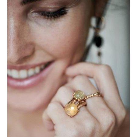 Bron BRON Ring Joy 18k Roségoud met zwart saffier 8RR4746ZK