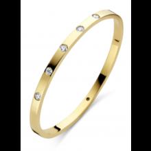 Fjory FJORY Armband 14k Geelgoud 4mm vierkant met diamant 0.50ct 40-A386104-0.50