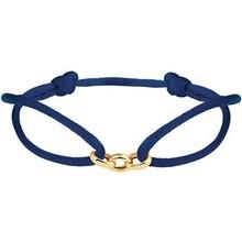 Mrs.Janssen Mrs.Janssen Armband donkerblauw satijn met 14k geelgouden schakels 608249