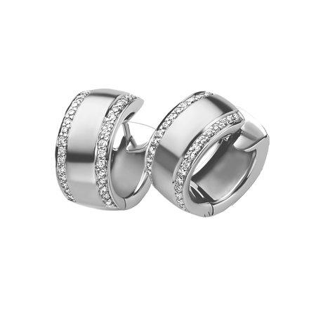 HuisCollectie HuisCollectie Creolen 14k Witgoud met 0.54ct diamant 15820