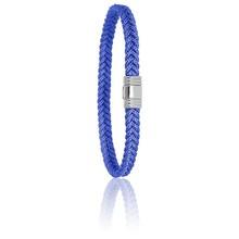 Albanu ALBANU Armband blauw gevlochten Cord met stalen sluiting 6mm-21cm