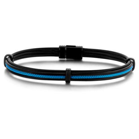 Albanu Albanu Armband Zwart Staal met blauw koord 30.06.45