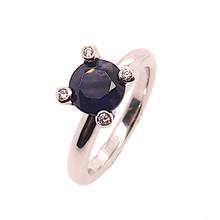 Mrs.Janssen MRS.Janssen Ring 14k Witgoud met Blauw saffier en diamant 605674