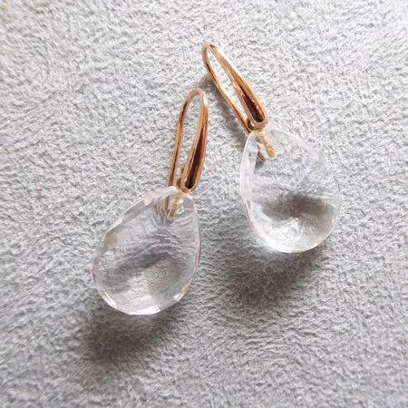 Mrs.Janssen Mrs.Janssen Oorhangers 18k roségoud met Bergkristal 20x15mm 608200