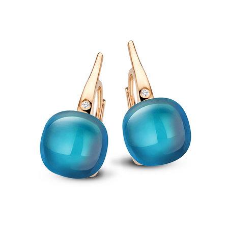 Bigli Bigli oorhangers Mini Sweety 18krt rose goud met London blue topaas 20O64Rlobmp