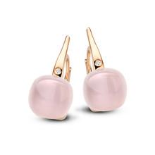 Bigli Bigli oorhangers Mini Sweety 18krt rose goud met roze kwarts met parelmoer 20O64Rpqmp