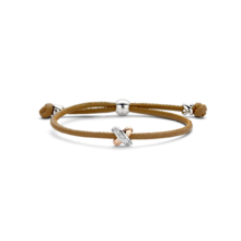 Tirisi Moda TIRISI Armband bruin leer met zilver en 18k roségoud  kusje met diamant TM2133NB(2p)