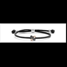 Tirisi Moda TIRISI Armband zwart leer met zilver en 18k roségoud  kusje met markasiet TM2135BL-2P