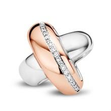 Tirisi Moda TIRISI MODA Schuif Kruis 18k Roségoud en Zilver met diamant TM6115D-2P