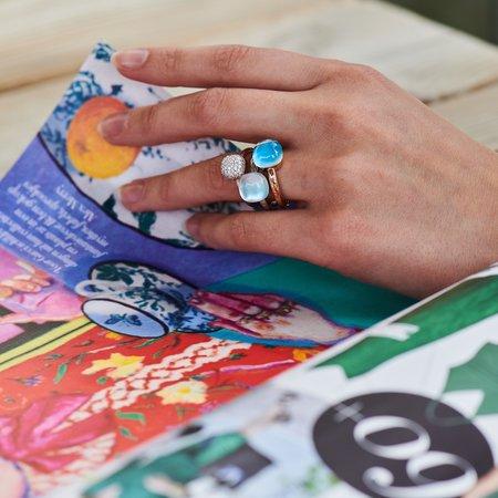 Bigli Bigli Ring Mini Sweety 18krt Roségoud met Ecletic Blue- 20R88Rbtmpturch