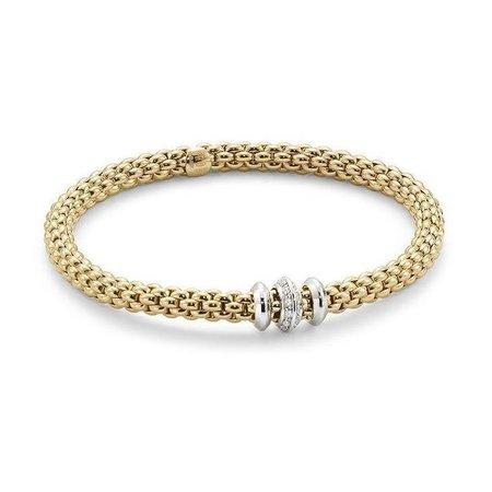 Fope FOPE Armband Flex-It Solo 18k geelgoud 0.17 ct diamant 653B BBR M G