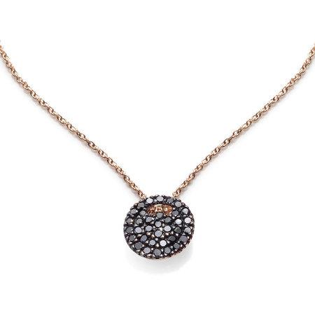 Burato BURATO Collier 18k Roségoud met 0.16ct zwart diamant 42cm BO023