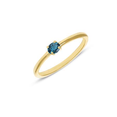 MissSpring Miss Spring Ring MSR570 geelgoud met londen bleu topaas