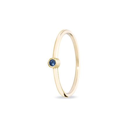 MissSpring Miss Spring Ring MSR024 Button geelgoud met blauw saffier 608659