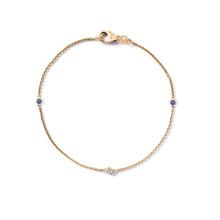 MissSpring Miss Spring Armband MSA605DISAGG Button 14krt geelgoud 1x0.02ct witte diamant + 2x0.04ct blauwe saffier 608665