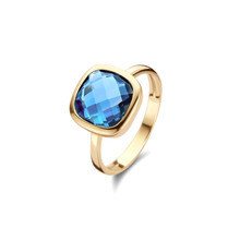 Jarrèl JARRÈL Ring San Marino Geelgoud met London Blue Topaas 4Y.7439.TLS