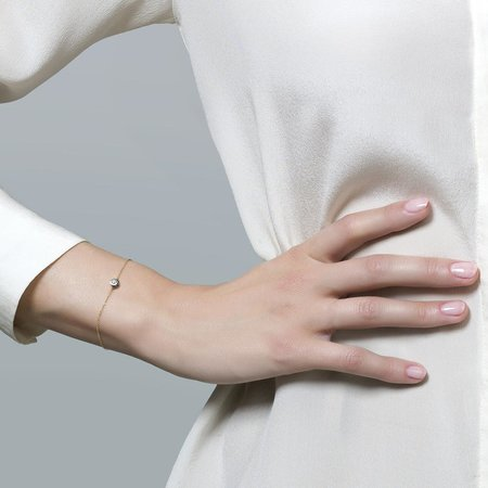 Blush Blush armband 14krt geelgoud, witgouden gladomzetting met zirkonia 2167BZI