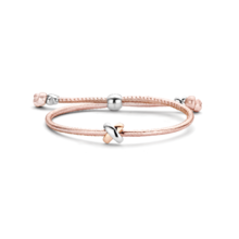 Tirisi Moda TIRISI Armband rosé leer met zilver en 18k rosegoud  TM2130RZ(2P)