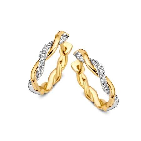HuisCollectie Mrs Janssen Creolen 14k Bicolor goud Tors met diamant 608880