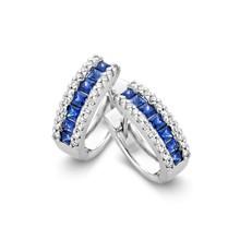 HuisCollectie Huiscollectie Creolen 14k witgoud met blauw saffier en diamant 0.26ct HSI 605469