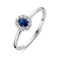 HuisCollectie HuisCollectie Ring 14k witgouden met blauw saffier en 0.15ct diamant 609034