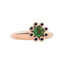 Bron BRON Ring Sprite 18k Roségoud  groene tourmalijn en zwarte korund-8RR4590GTZK